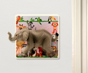 Decorative Light Switch With Baby Elephant For A Safari Or Jungle Themed Bedroom or Nursery