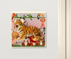 Decorative Light Switch For Children´s Safari Themed Nursery with Cute Tiger Cub