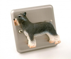 Decorative Brushed Chrome Schnauzer Dog Light Switch Gift For Dog Lovers