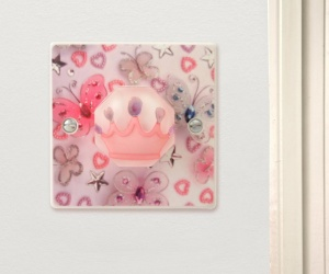 Girls Butterflies & Pink Princess Crown Bedroom Light Switch or Dimmer Switch Made in The UK