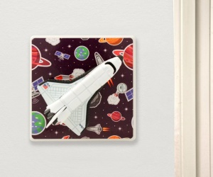 Space Rocket Light Switch or Dimmer Switch Dark Purple Planets and Rockets for a Girls or Boys Space Themed Bedroom