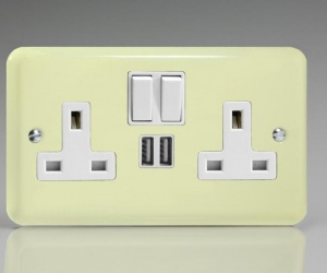 **1 IN STOCK ONLY** Buy XY5U2SW.WC CQ Double White Chocolate Plug Socket with USB Ports 13 Amp Switched Socket 2 Gang Varilight