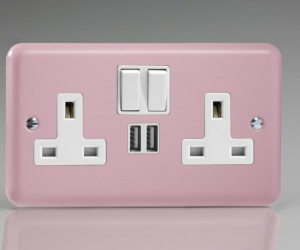 Buy XY5U2SW.RP CQ Double Rose Pink Plug Socket with USB Ports 13 Amp Switched Socket 2 Gang Varilight