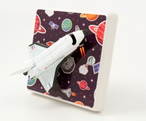 Space Rocket Light Switch - Outer Space Planets for a Girls or Boys Space Themed Bedroom
