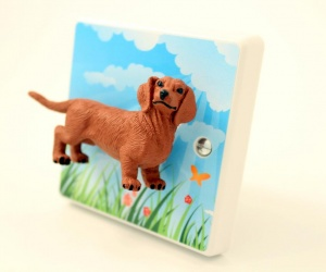 Dachshund Dog Light Switch - Decorative Dimmer Light Switch with Summertime Sausage Dog