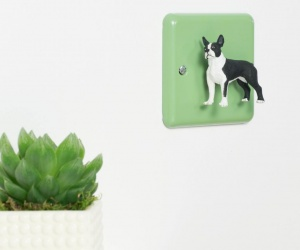Decorative Light Switch with Boston Terrier Dog