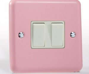 *SALE - 4 ONLY - Varilight Retro Lily Range Pastel Rose Pink Double Light Switch CQ XY2W.RP