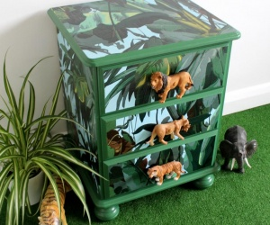 Upcycled Children´s Furniture - Bedside Chest of Upcycled Drawers perfect for a Safari themed Bedroom or Nursery