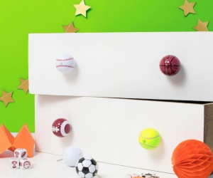 Sports Ball Cupboard Knobs ~ Set of Six Sports Ball Decorative Knobs