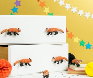 Decorative Red Panda Drawer or Cupboard Knobs ~ Set of 6 Red Pandas ~ Animal Knobs