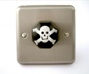 Brushed Chrome Skull &Crossbones Decorative Light Switch for a Pirate Themed Bedroom British Made & Handmade