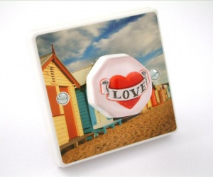 Beautiful Beach Huts Love Light Switch British Made & Handmade