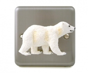 Brushed Chrome Polar Bear Cub Light Switch