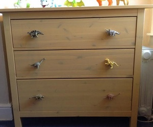 Dinosaur Cupboard Knobs on a Chest of Drawers