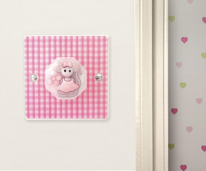 Matilda Mouse Pink Gingham Light Switch for Pink Themed Bedroom